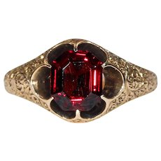 Victorian Faceted Garnet Solitaire RIng