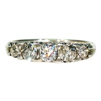 Antique Edwardian 5 Stone Diamond Ring 15k Gold