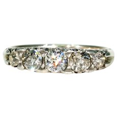 Antique Edwardian 5 Stone Diamond Ring 15k Gold