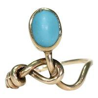 Funky Edwardian Turquoise Gold Ring 15k