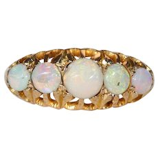 Antique Edwardian 5 Stone Opal Gold Ring