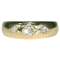 Edwardian 3 Stone Diamond Gypsy Ring Stacking 18k Gold