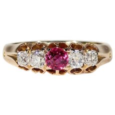 Wonderful Victorian Diamond Ruby Ring Gold
