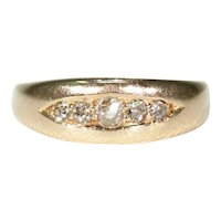 Antique English 15k Gold Diamond Band Ring 5 Stone