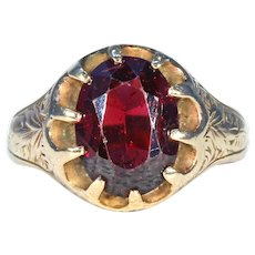 Edwardian Faceted Garnet Gold Ring