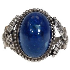Antique Sterling Silver Swiss Lapis Ring Grape Motif