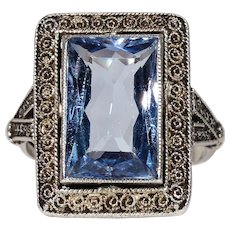 Edwardian Blue Paste Silver Ring by Theo. Fahrner