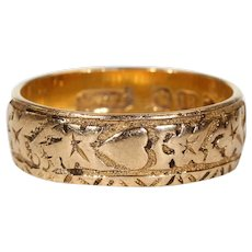 Victorian Gold Engraved Hearts Ivy Leaves Wedding Band Ring