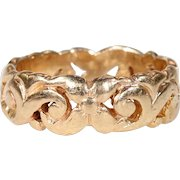 Gorgeous 15k Gold Peirced Wedding Band Victorian