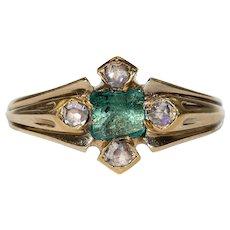 Antique Victorian Emerald Diamond Ring