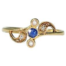 Antique Diamond Pearl Sapphire Ring 18k Gold