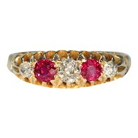 Edwardian Half Hoop 5 Stone Ruby Diamond Ring 18k Gold