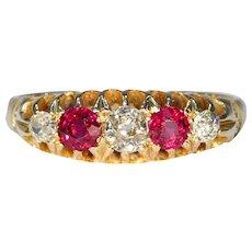 Edwardian Half Hoop 5 Stone Ruby Diamond Ring 18k Gold