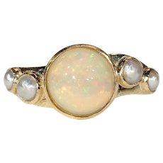 Celestial Art Deco Opal Pearl Ring in 18k Gold