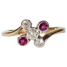 Antique Edwardian Diamond Ruby Ring Gold Platinum