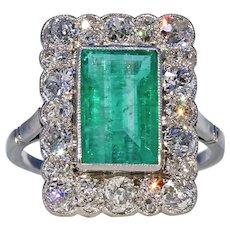 Edwardian Diamond Emerald Ring Platinum Cluster