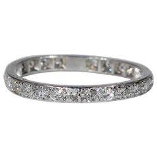 Antique Platinum Diamond Eternity Band Ring Size 9