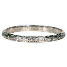 Art Deco Engraved Platinum Wedding Band Ring Size 9.25