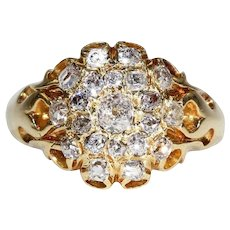 Victorian Diamond Triple Cluster Ring