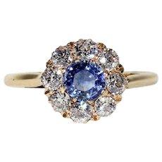 Victorian Blue Sapphire Diamond Cluster Ring