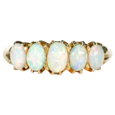 Victorian 5 Stone Opal Ring 15k Gold