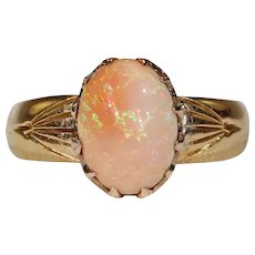 Edwardian Arts & Crafts Orange Opal Ring