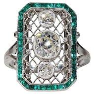 Stunning French Platinum Emerald Diamond Belle Epoque Ring