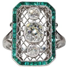Stunning French Platinum Emerald Diamond Belle Epoque Ring