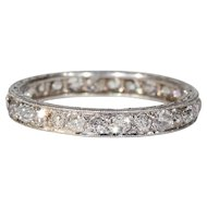 Vintage Edwardian Diamond Eternity Band Platinum Wedding Band