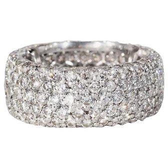 1940s Wide Diamond Eternity Band Ring 4.3 Carat