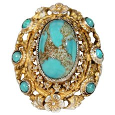 Antique Austro-Hungarian Turquoise Silver Gilt Ring