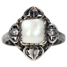 Antique Mother of Pearl Silver Ring