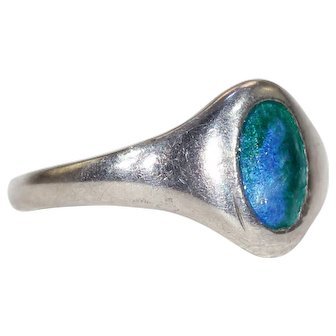 Antique Charles Horner Silver Enamel Ring Hallmarked 1911