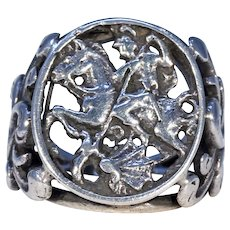 Victorian Silver St. George and the Dragon Ring
