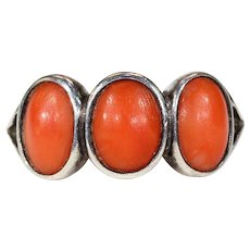 Antique Coral Arts & Crafts Silver Ring