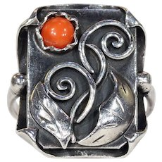 Antique Jugendstil German Silver Coral Ring