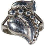 Vintage Danish Silver Leaf Ring by C. B. Hansen