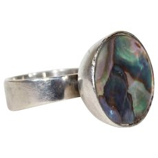 Artistic Vintage Mid-Century Abalone Silver Ring Danish by Carl Ove Frydensberg