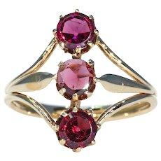Victorian Garnet Ring 3 Stone 15k Gold
