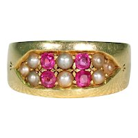 """Victorian Ruby & Pearl Band 18K, Inscribed """"A to B"""""""