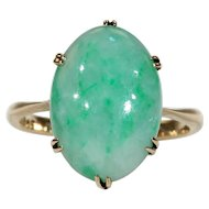 Antique Edwardian Green Jade Ring
