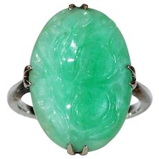 Edwardian Carved Jade Ring in White Gold