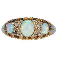 Edwardian Opal Diamond Gold Ring 3 Stone