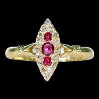 Victorian Ruby Diamond Navette Ring 18k Gold