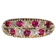 Edwardian Stacked Ruby Diamond Mutli-Stone Ring
