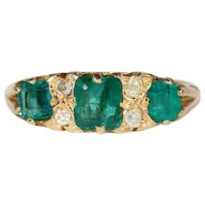 Edwardian Emerald Diamond Ring Gold Stacking