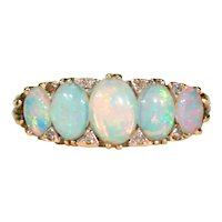 Antique Opal Diamond Ring 5 Stone 18k Gold