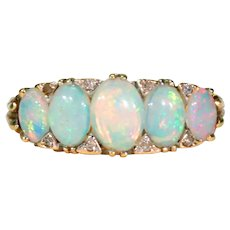 Antique Opal Diamond Ring 5 Stone 18k Gold