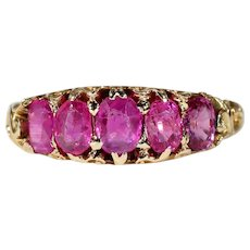 Victorian Half Hoop 5 Stone Ruby Ring Gold