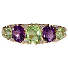 Antique Peridot Amethyst Diamond Ring Suffragette Jewelry